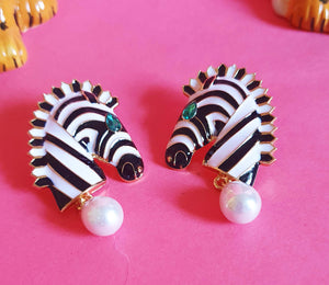 Zebra Pearl Earrings