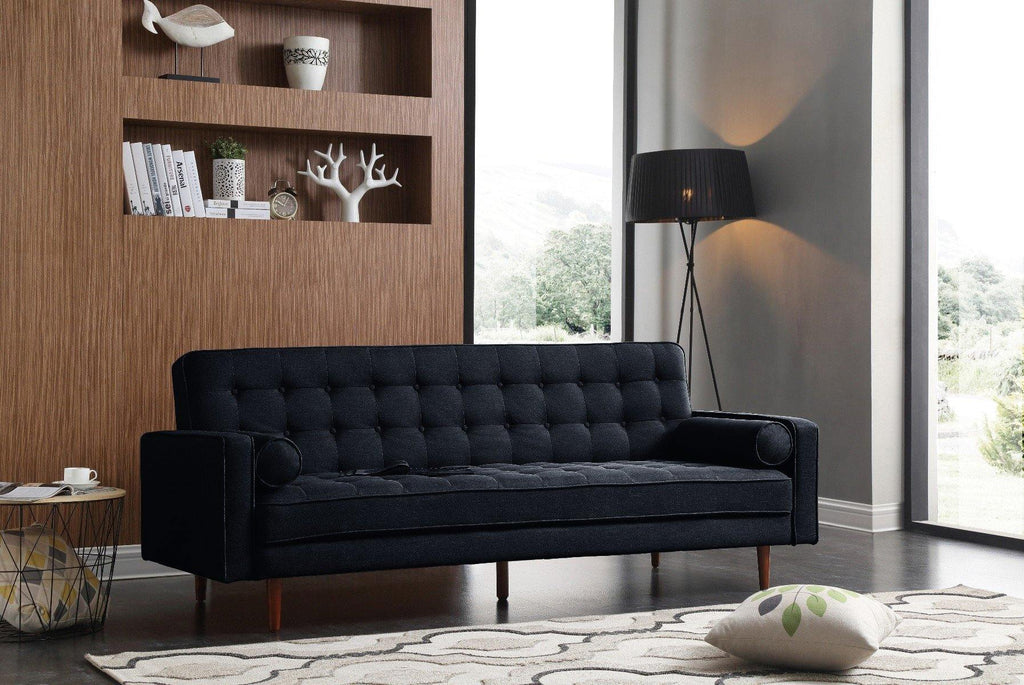 Sofa Irving Black Velvet Fabric - Housethings
