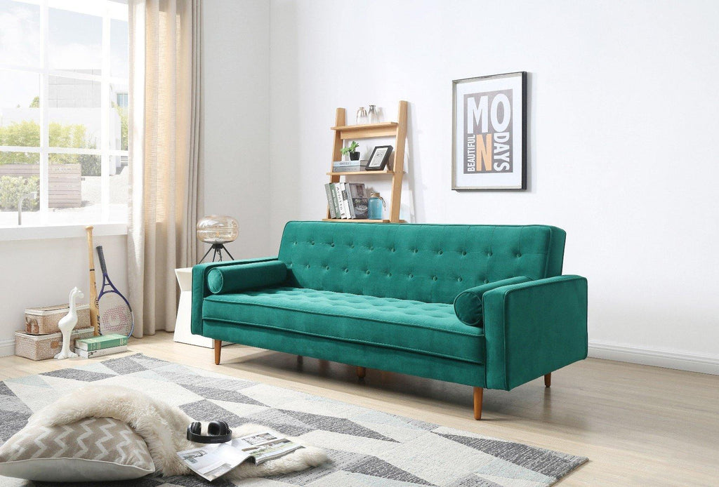 Sofa Irving Green Velvet Fabric - Housethings