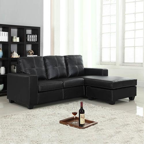 Black PU Leather Sofa with CHAISE - Housethings
