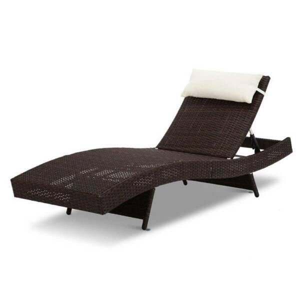 Outdoor Wicker Sun Lounge - Brown - Housethings