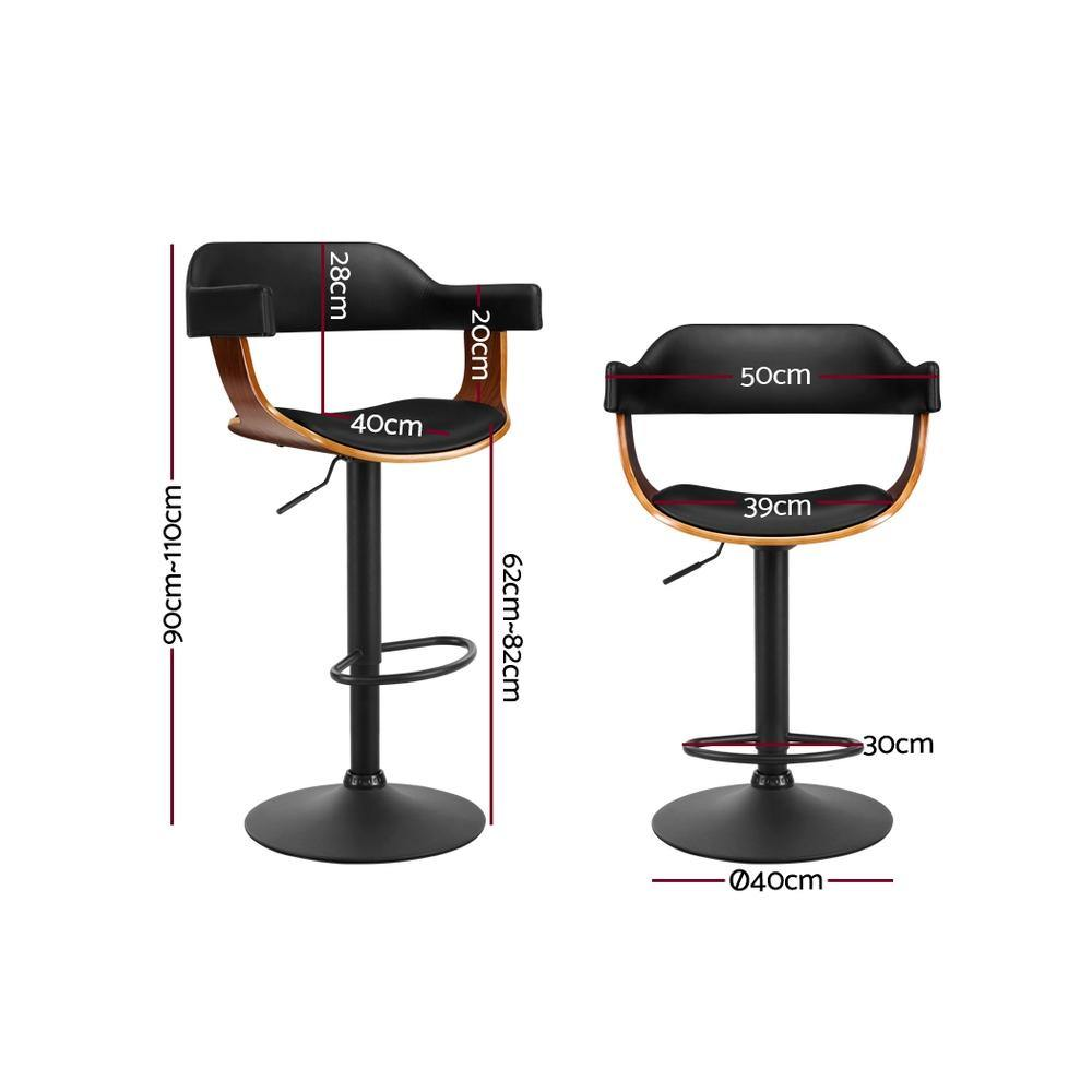 1 x BARTON Wooden Bar Stools Swivel Gas Lift Leather Black - Housethings
