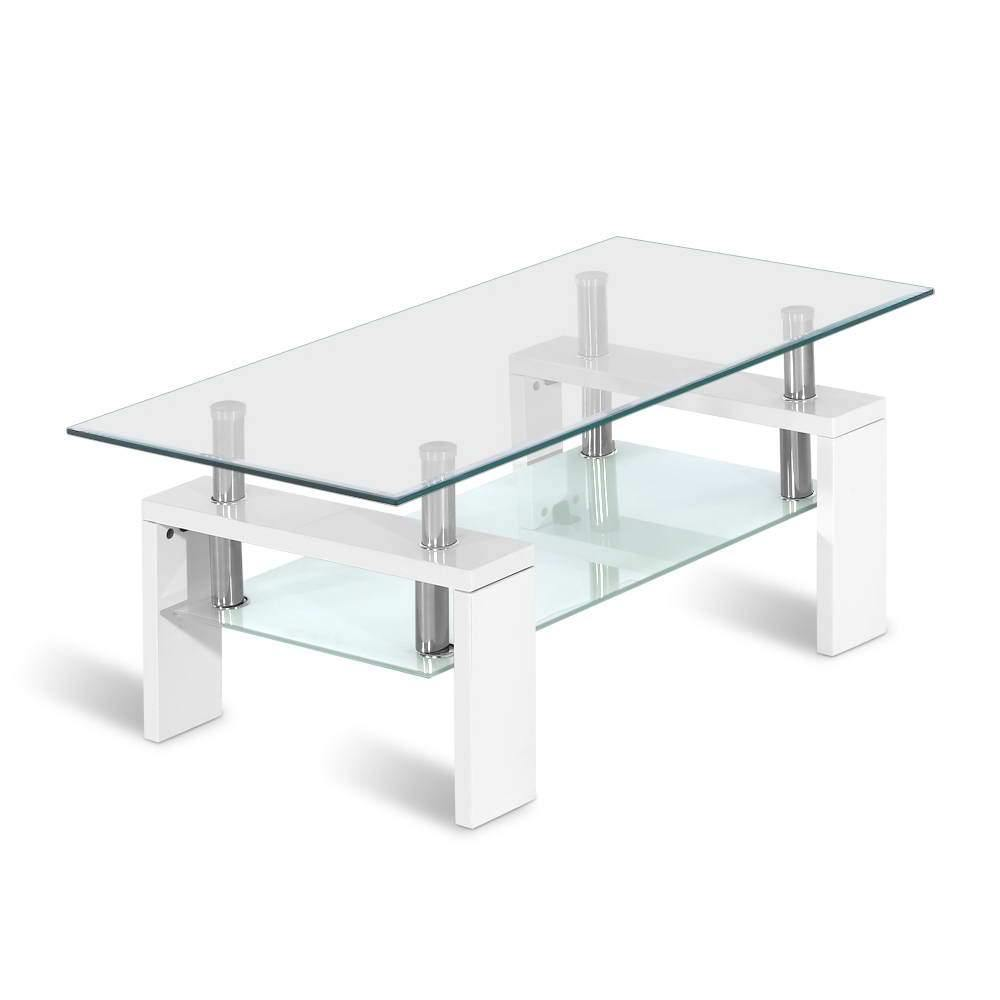 Artiss 2 Tier Coffee Table Tempered Glass Stainless Steel White