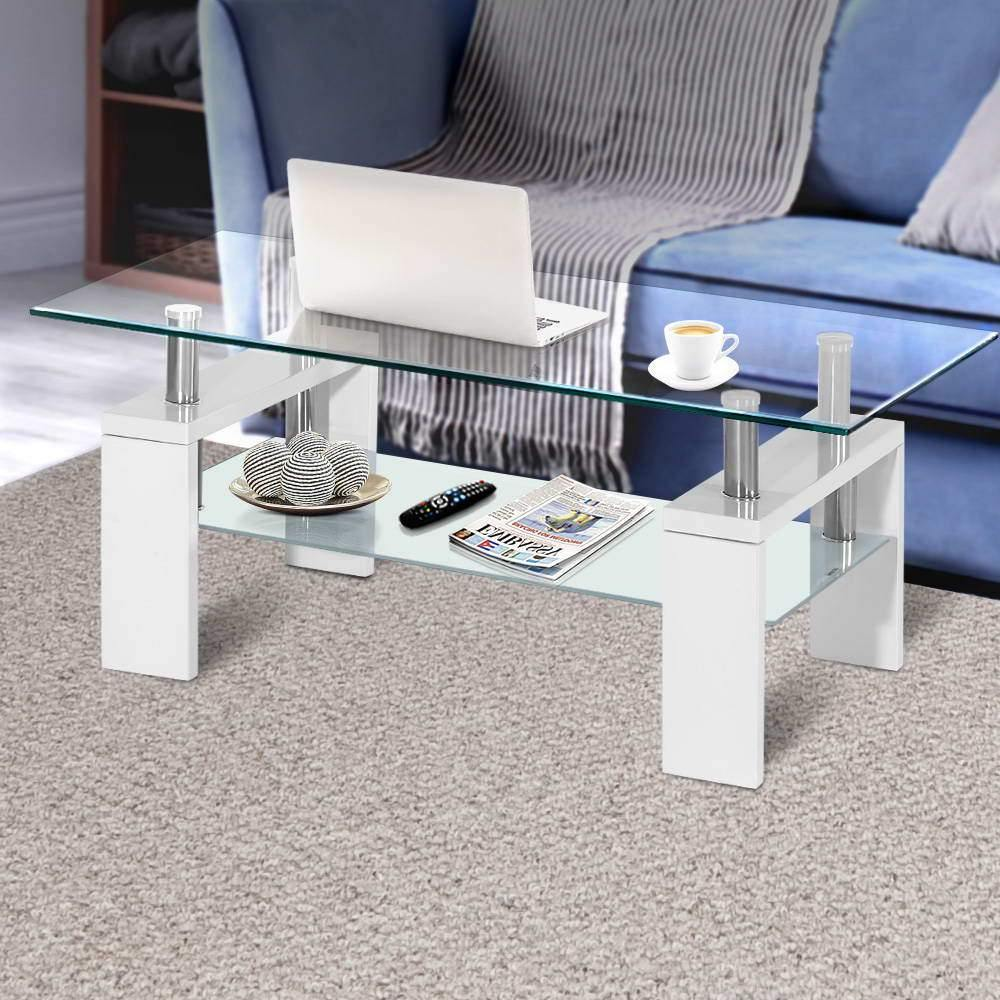 2 Tier Coffee Table Tempered Glass Stainless Steel White - Housethings