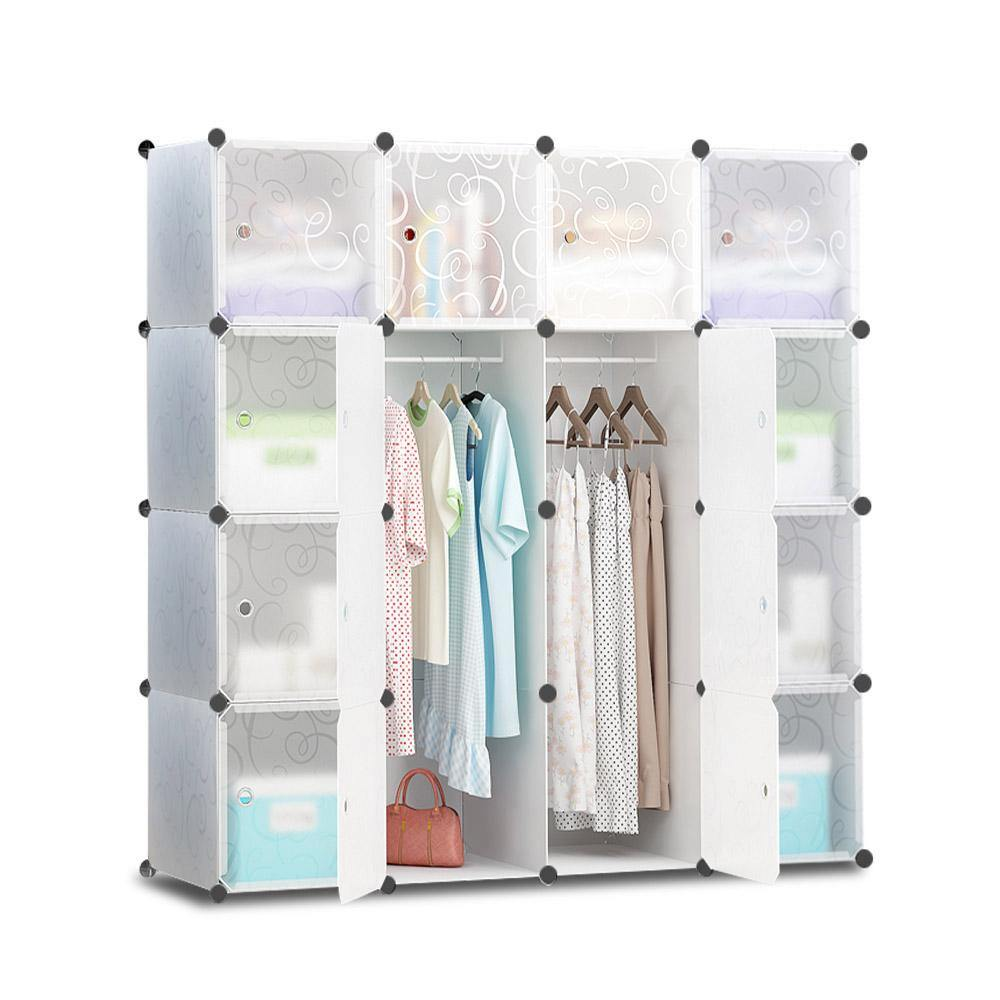 16 Cube Portable Storage Cabinet Wardrobe - White - Housethings