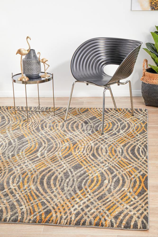 Dreamscape Flurry Modern Charcoal Rug - Housethings