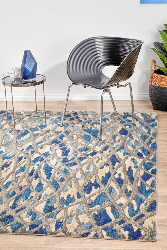 Dreamscape Ropes Modern Blue Rug - Housethings