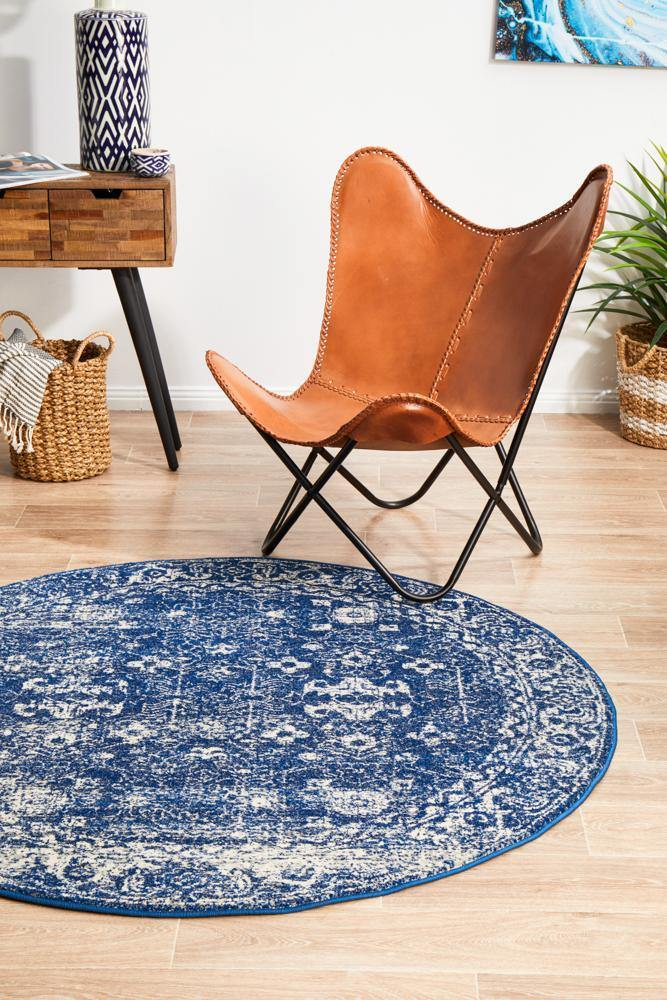 Evoke Oasis Navy Transitional Round Rug - Housethings