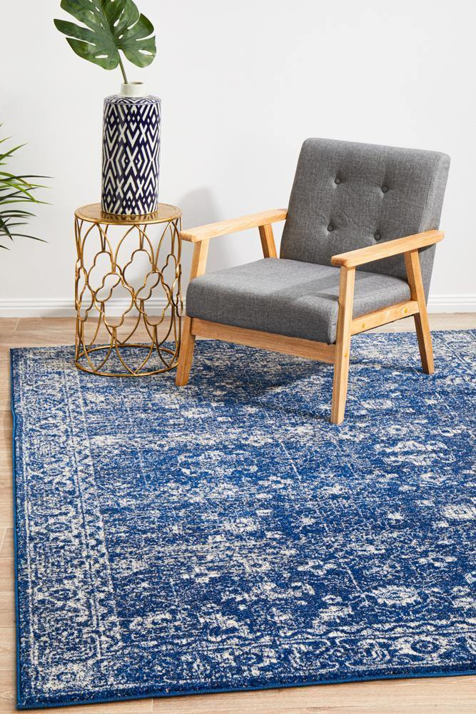 Classic Navy Transitional Rug - Housethings