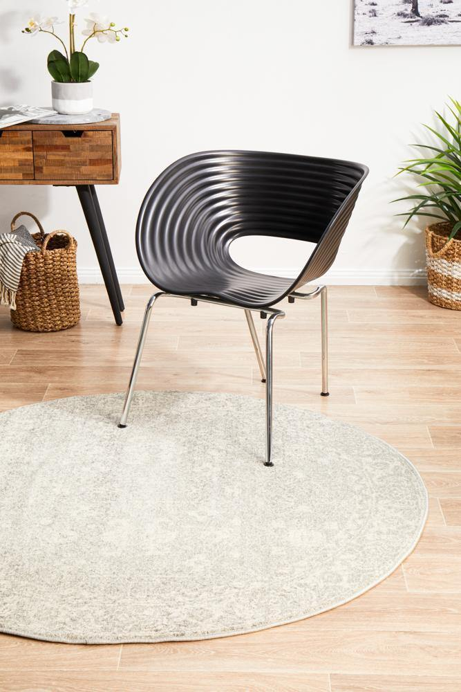 Evoke Shine Silver Transitional Round Rug - Housethings