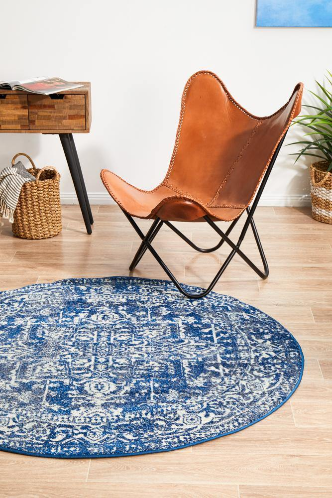 Evoke Contrast Navy Transitional Round Rug - Housethings