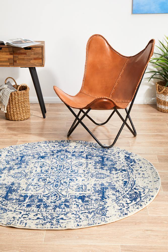 Evoke Horizon White Navy Transitional Round Rug - Housethings