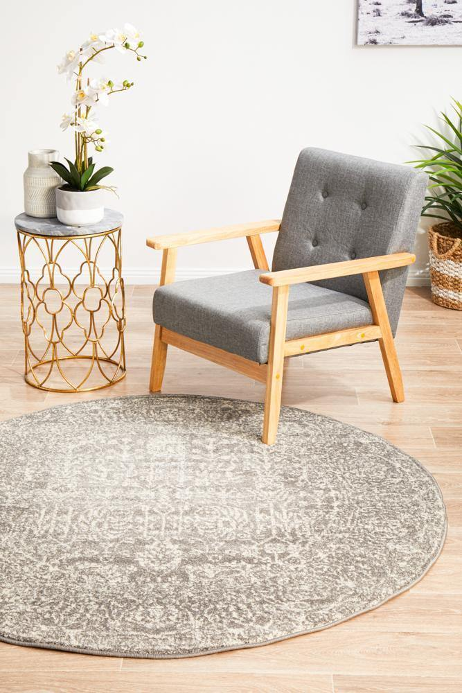 Evoke Homage Grey Transitional Round Rug - Housethings