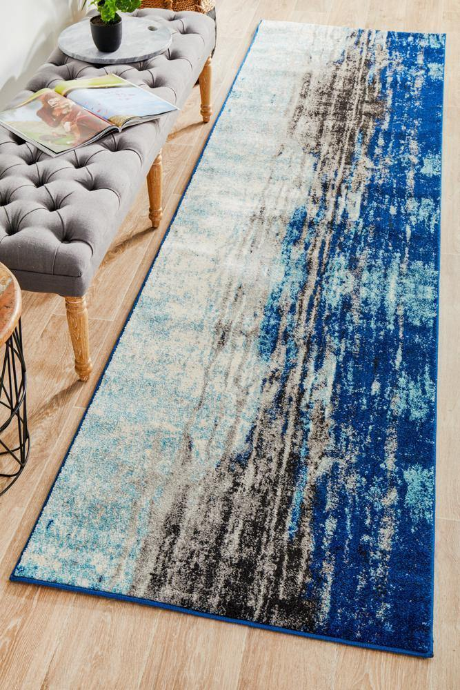 Evoke Transpose Blue Transitional Runner Rug - Housethings