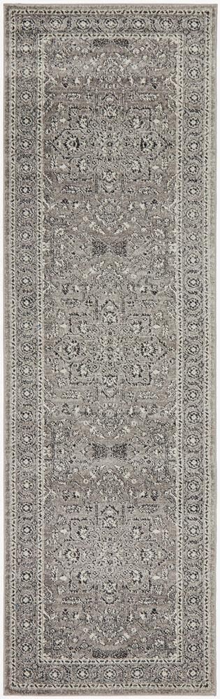Evoke Stone Grey Transitional Runner Rug - Housethings
