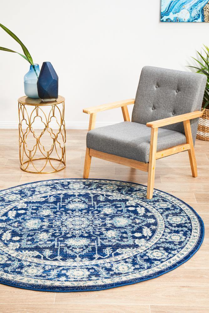 Evoke Release Navy Transitional Round Rug - Housethings