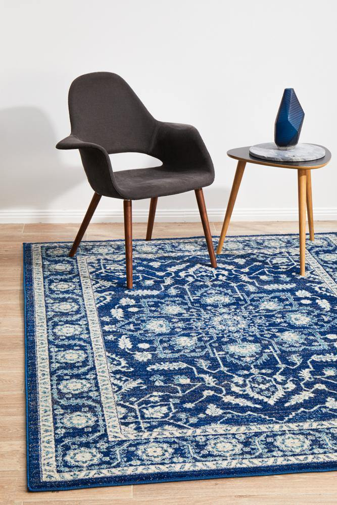 Evoke Release Navy Transitional Rug - Housethings