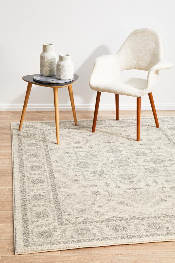 Evoke Winter White Transitional Rug - Housethings