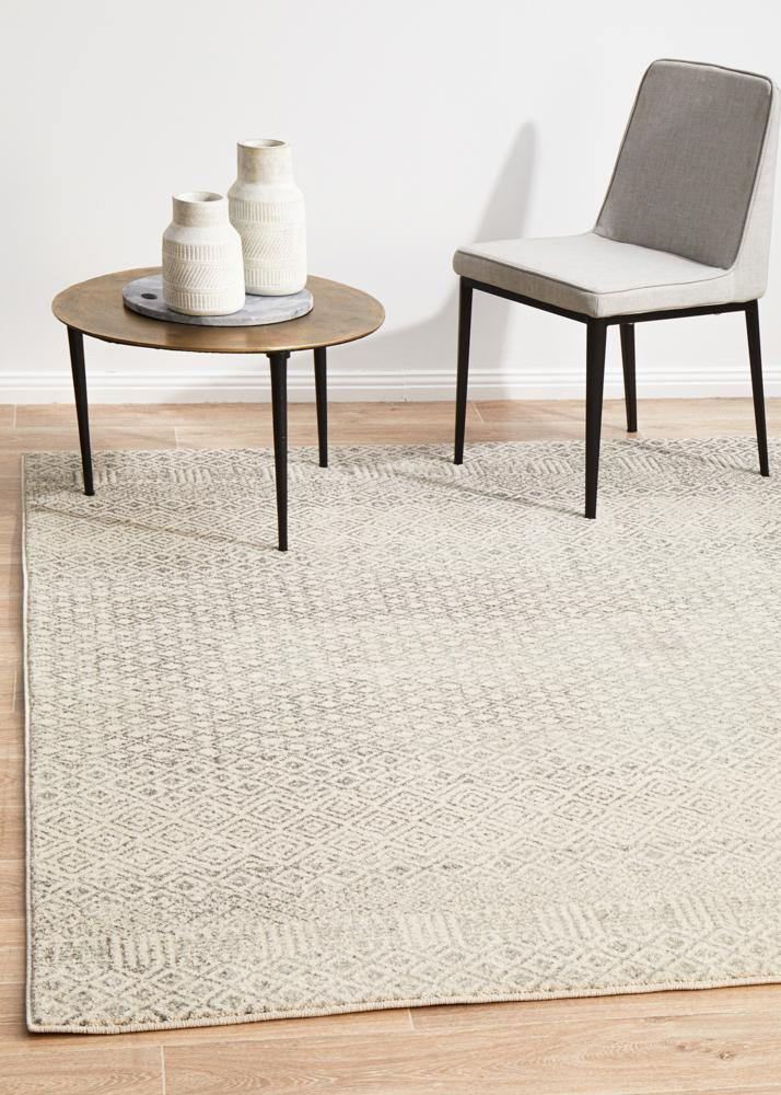 Classic Diamond Grey Transitional Rug - Housethings