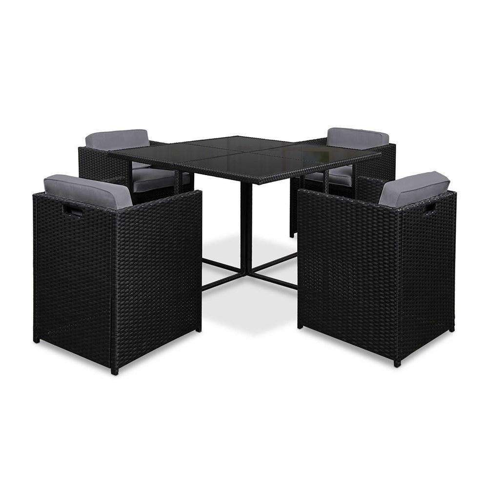 5 Piece Wicker Outdoor Dining Set - Black - Housethings