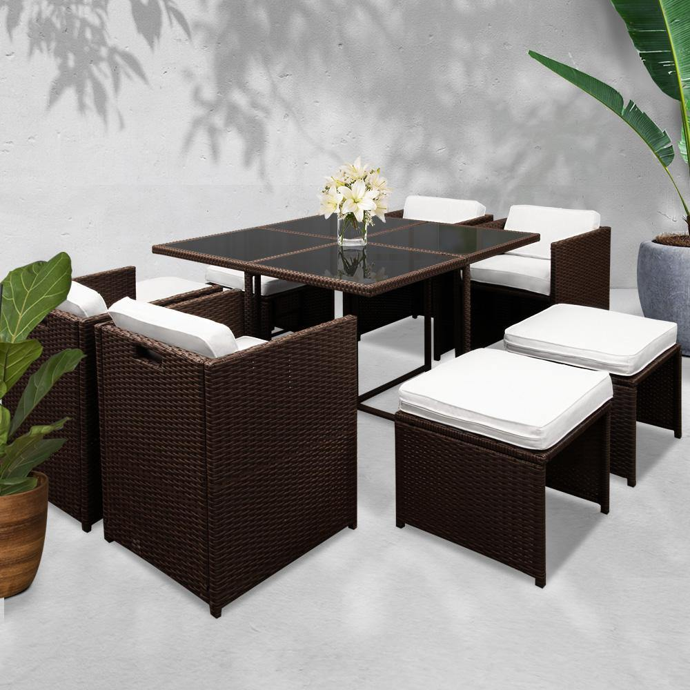 9 Piece Wicker Outdoor Dining Set - Brown & White - Housethings