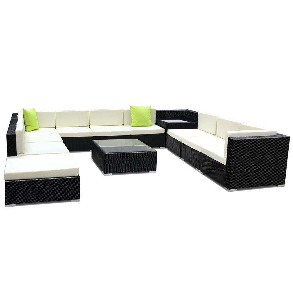 12PC Sofa Set with Storage Cover Outdoor Furniture Wicker - Housethings