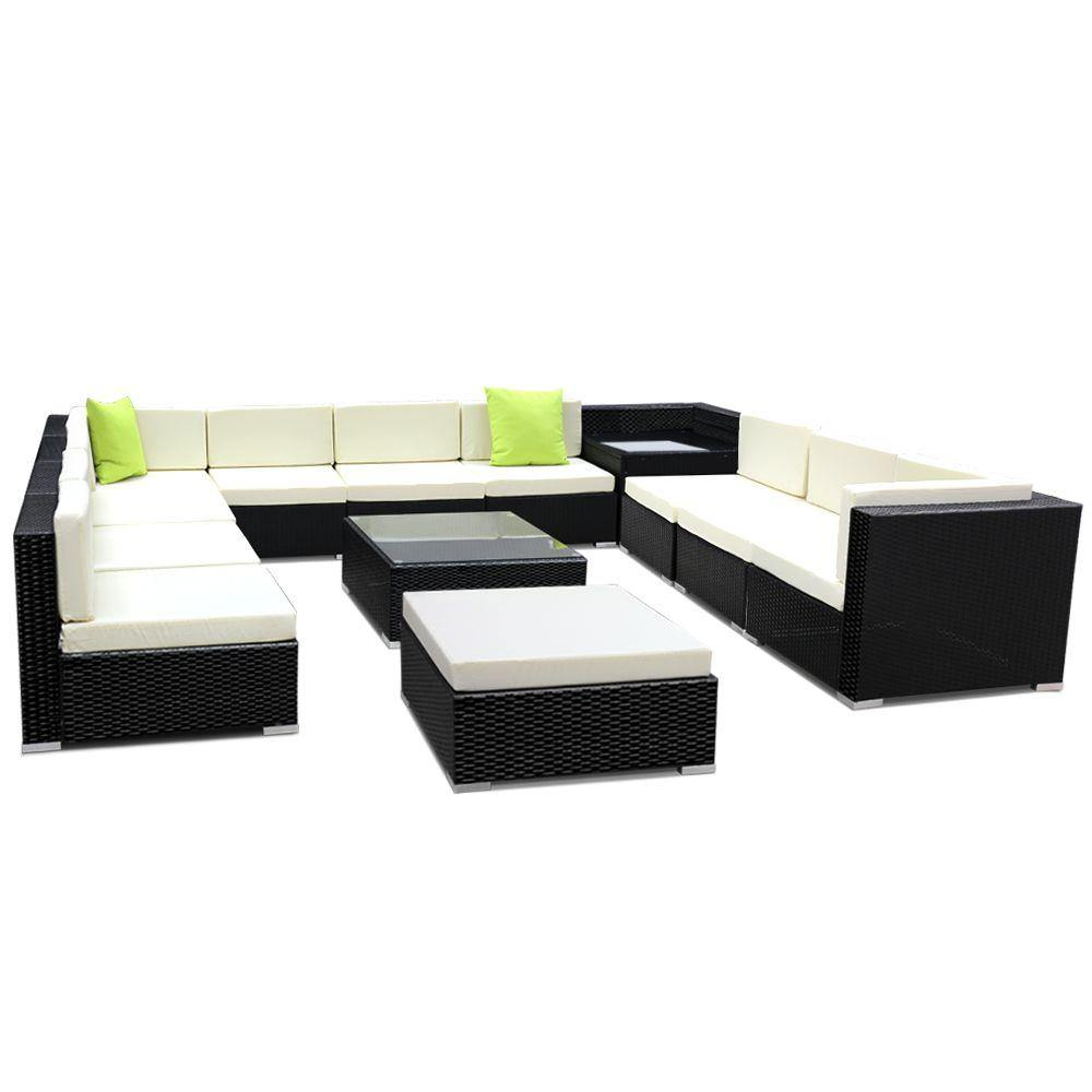 13PC Sofa Set with Storage Cover Outdoor Furniture Wicker - Housethings