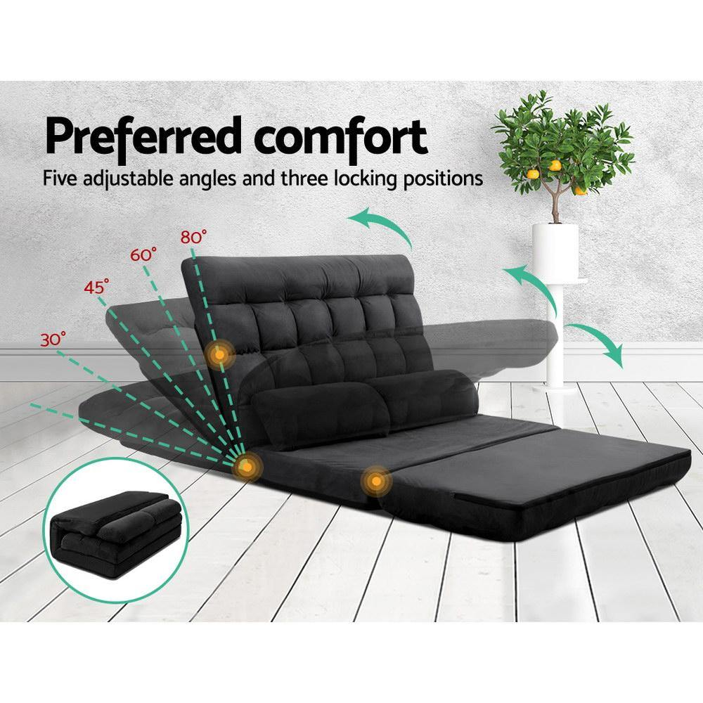 Lounge Sofa Bed 2-seater Floor Folding Charcoal - Housethings