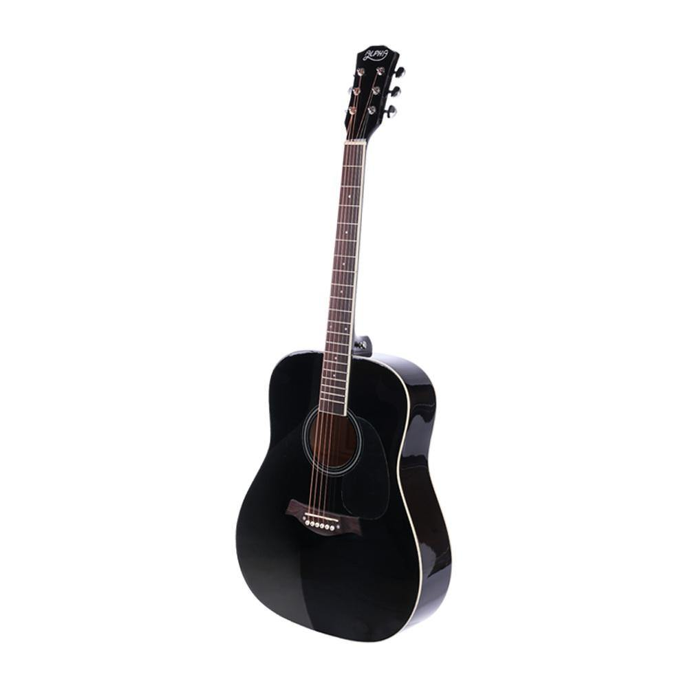 41 Inch Wooden Acoustic Guitar with Accessories set Black - Housethings