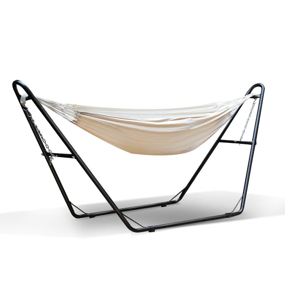 Hammock Bed with Steel Frame Stand - Cream - Housethings