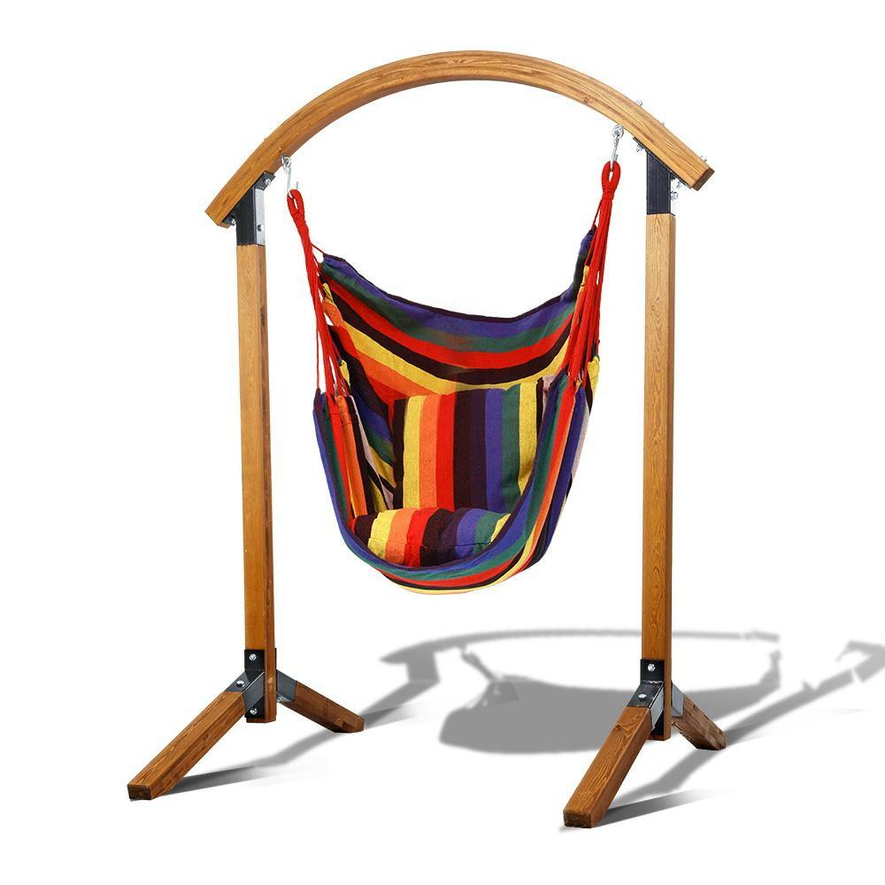 Outdoor Swing Chair Timber Hammock Pillow - Housethings