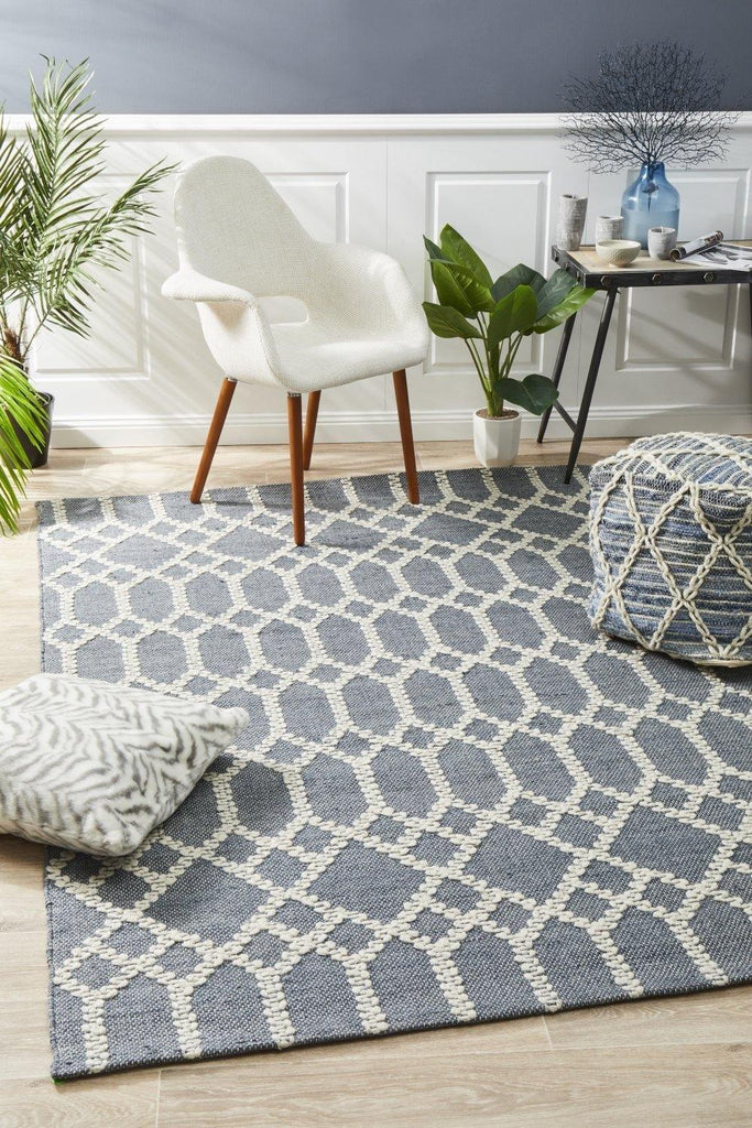 Krisha Tribal Trellis Rug Rustic Blue - Housethings