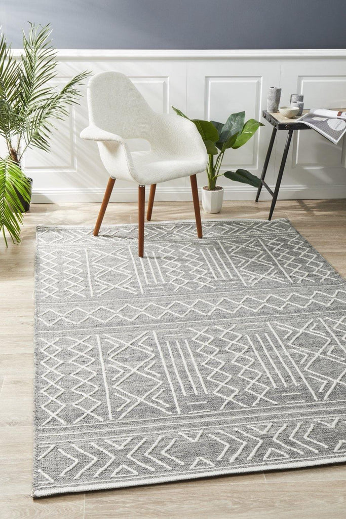 Arya Stitch Woven Rug Silver Grey - Housethings