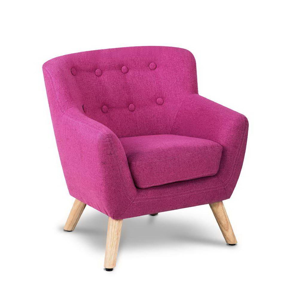Kids Sofa Armchair Fabric Pink - Housethings