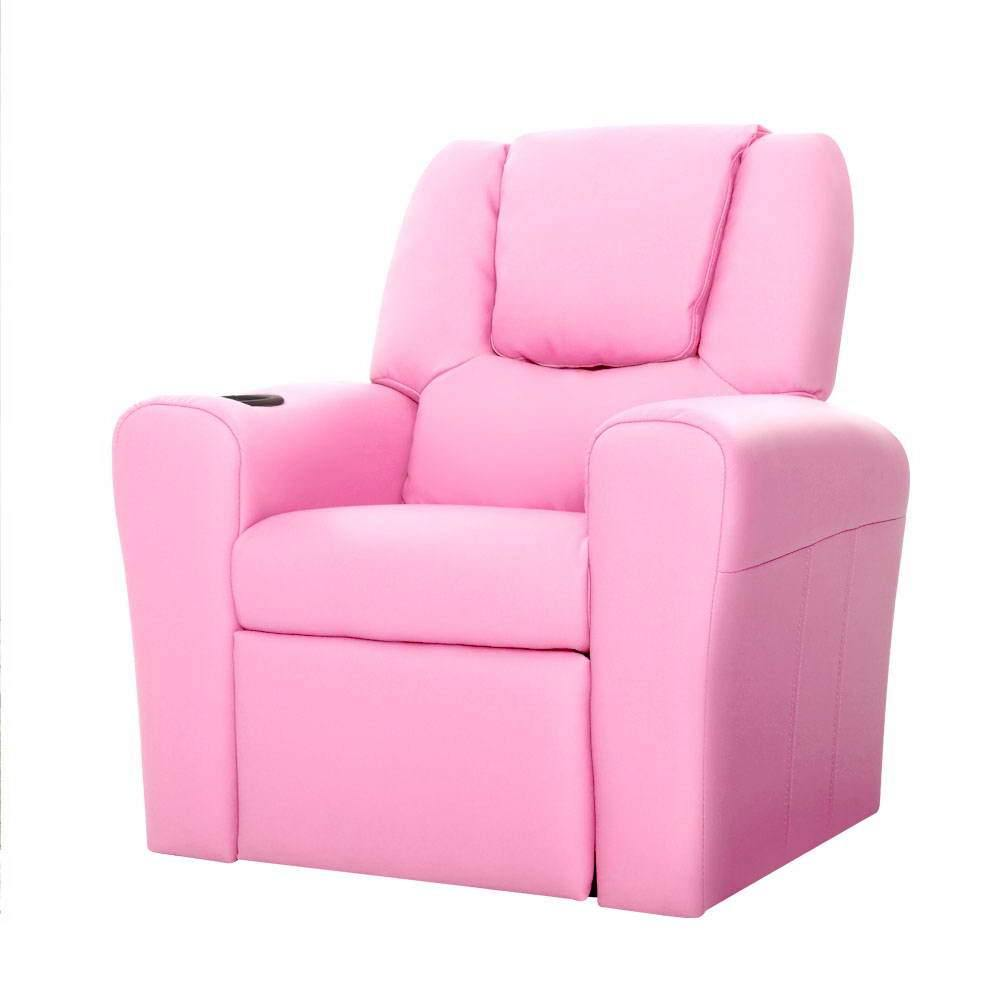 Luxury Kids Recliner Sofa Children Lounge Chair Couch PU Armchair PINK - Housethings