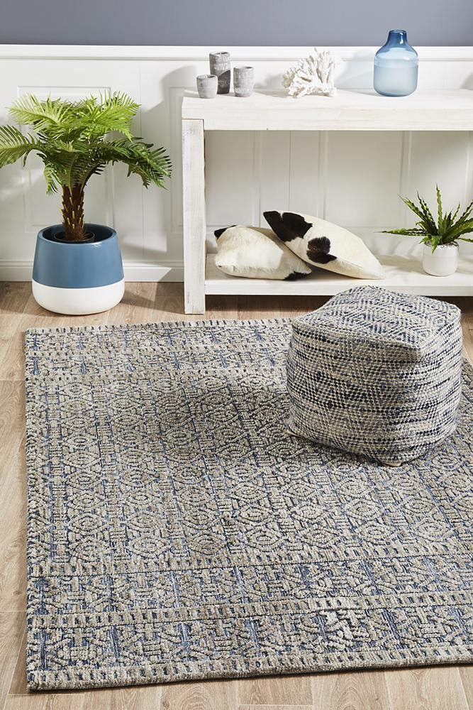 Levi Miriam Navy Grey Rug - Housethings