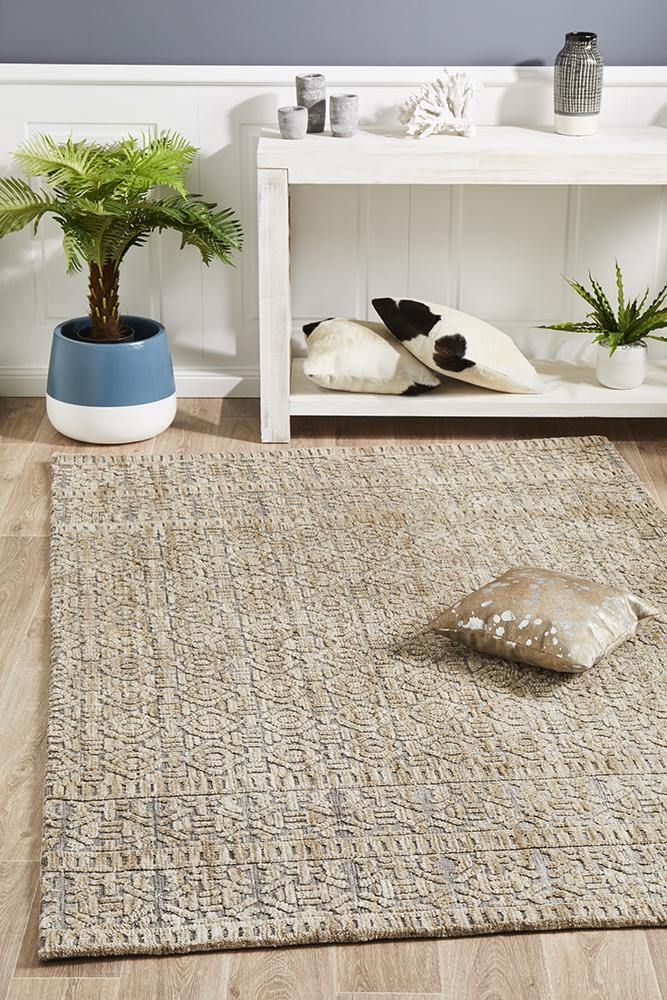Levi Hannah Natural Grey Rug - Housethings