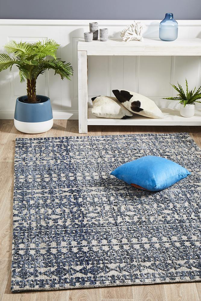 Levi Tara Navy Grey Rug - Housethings