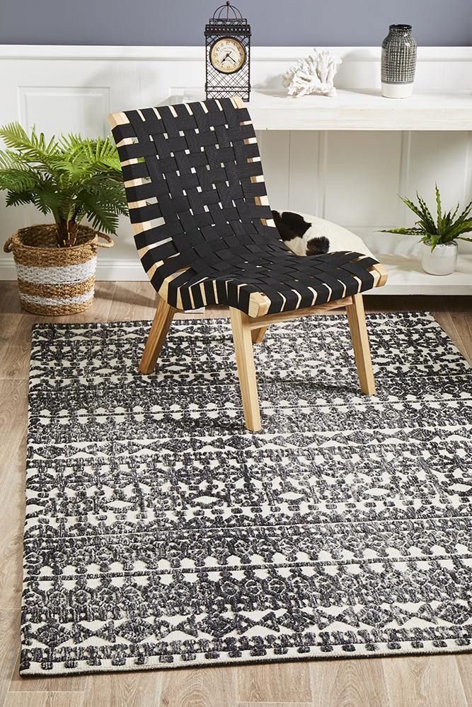 Levi Yasmin Ivory Black Rug - Housethings