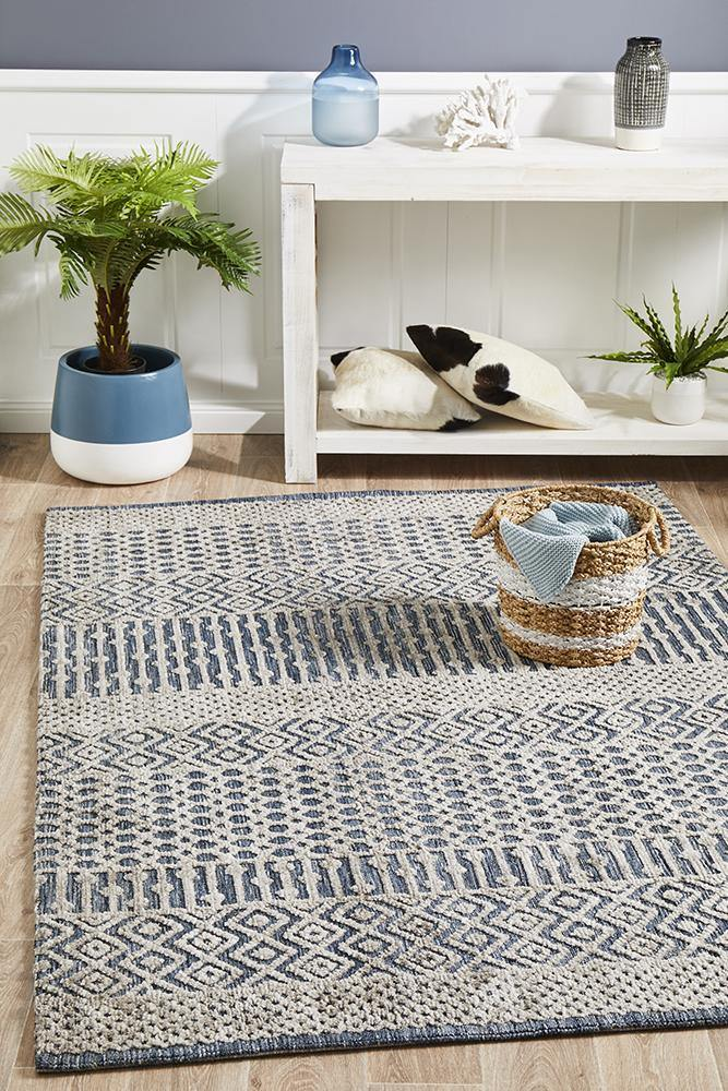 Levi Corey Navy Grey Rug - Housethings