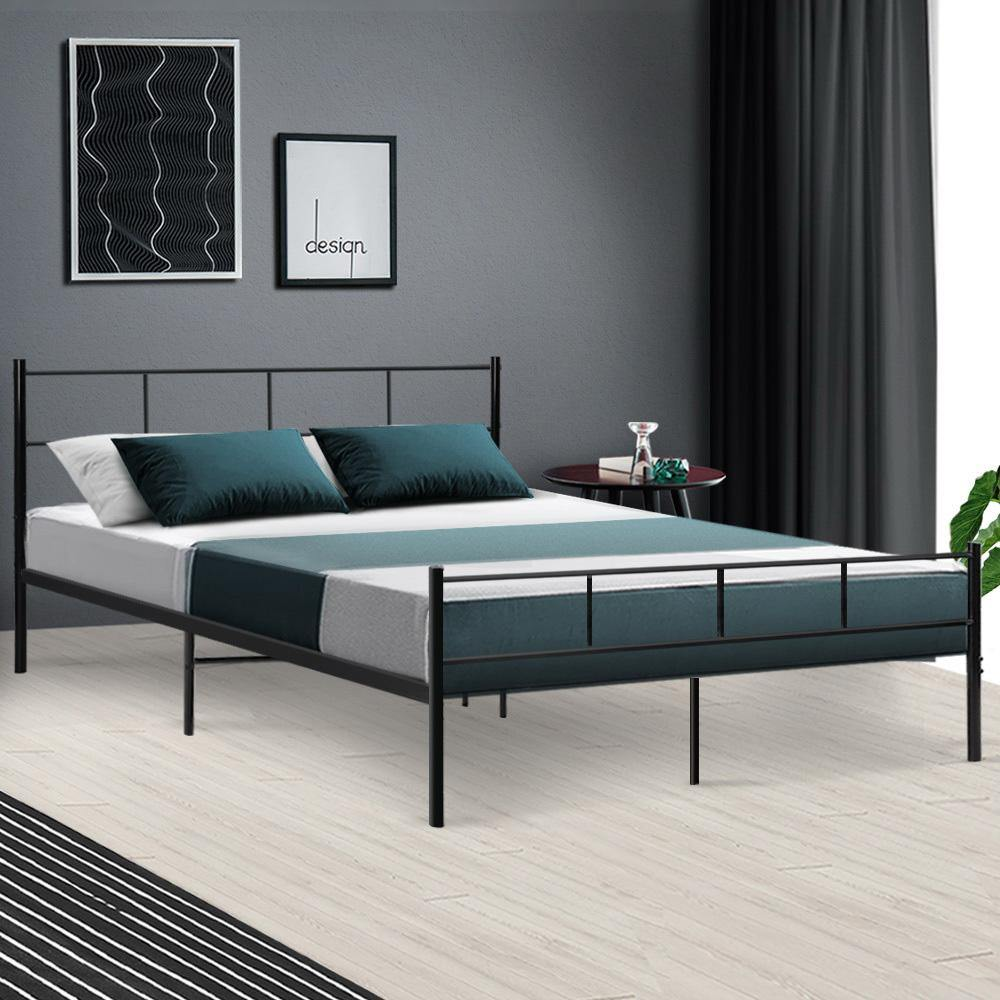 Metal Bed Frame Queen Size OLI Black - Housethings