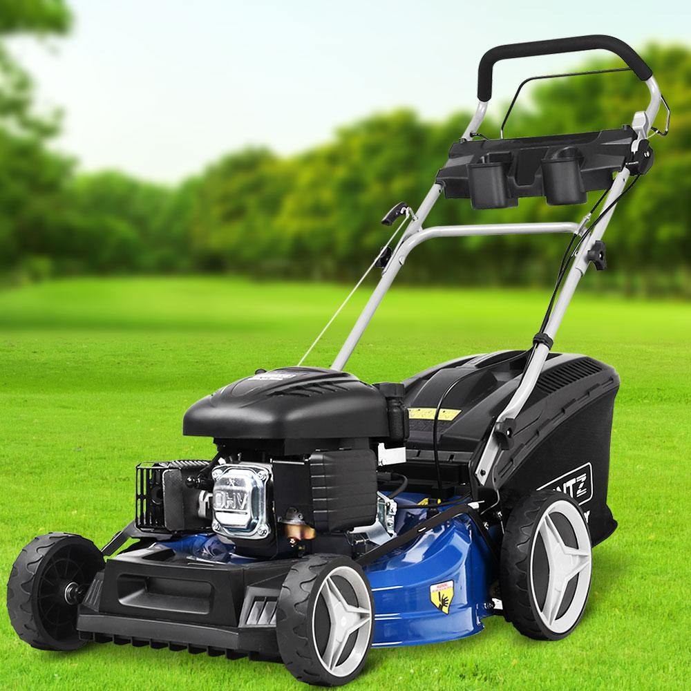 "Lawn Mower Self Propelled 21"" 220cc 4 Stroke Petrol Mower Grass Catch - Housethings"