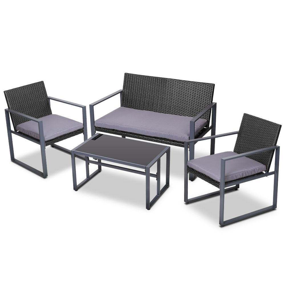 4PC Outdoor Furniture Patio Table Chair Black - Housethings