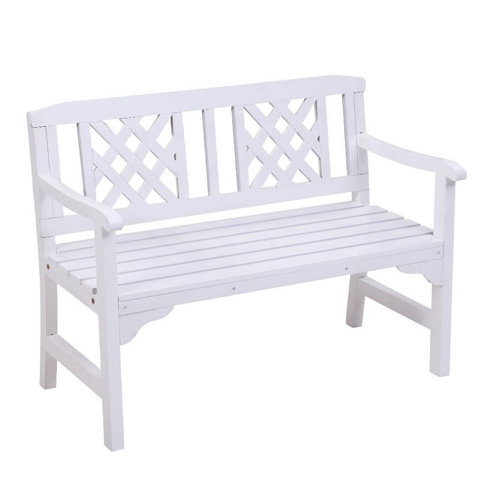 2 Seat Wooden Patio Garden Bench White - Housethings