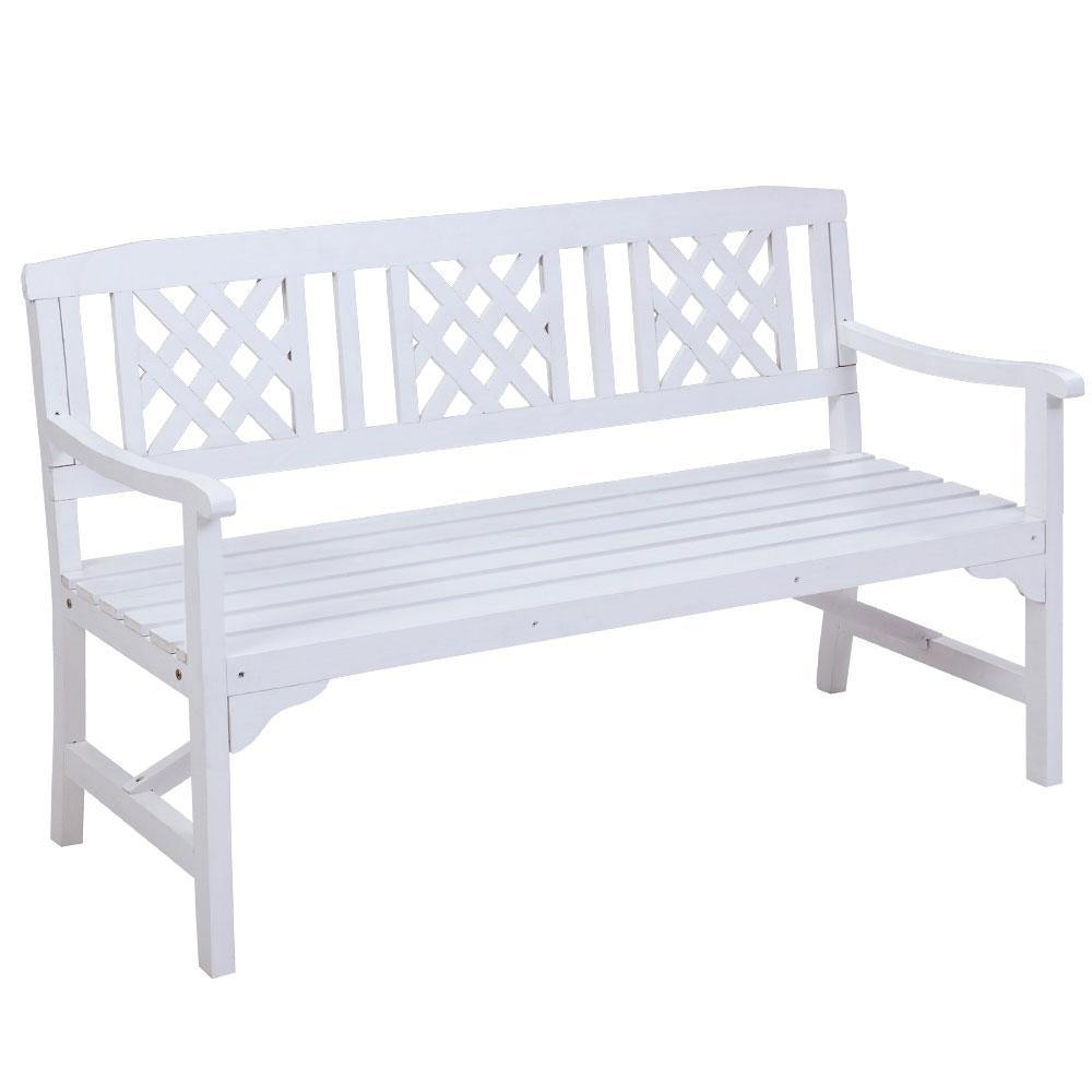 Garden Bench 3 Seat Timber Outdoor White - Housethings