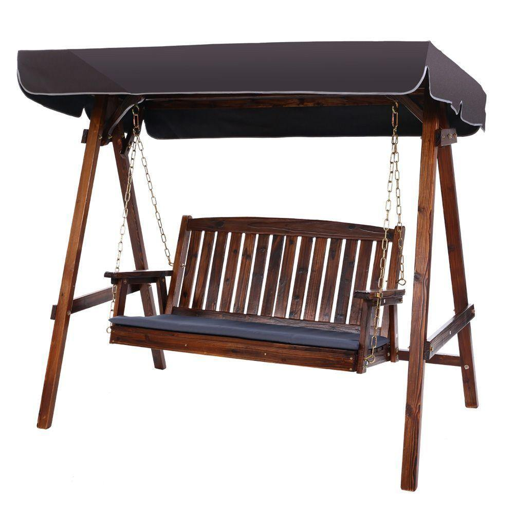 3 Seater Wooden Swing Chair Canopy - Housethings