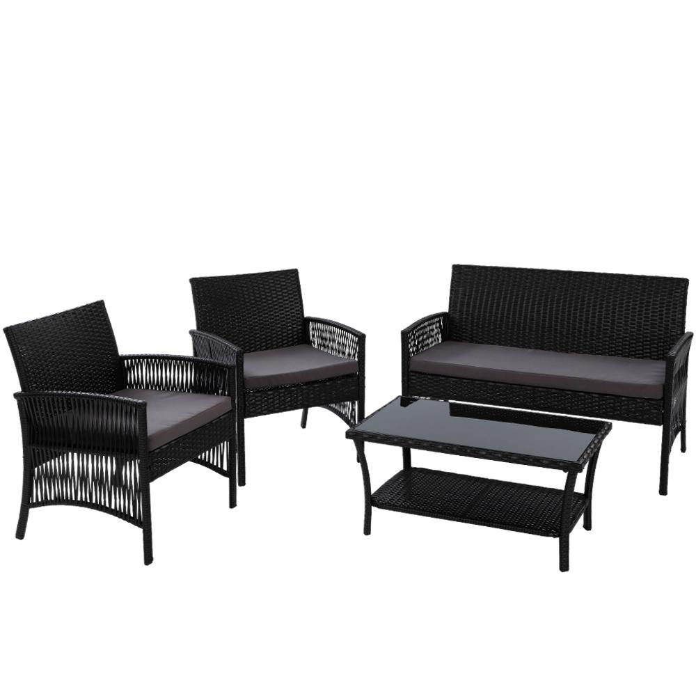 Outdoor Furniture Rattan Set Wicker Cushion 4pc Black - Housethings