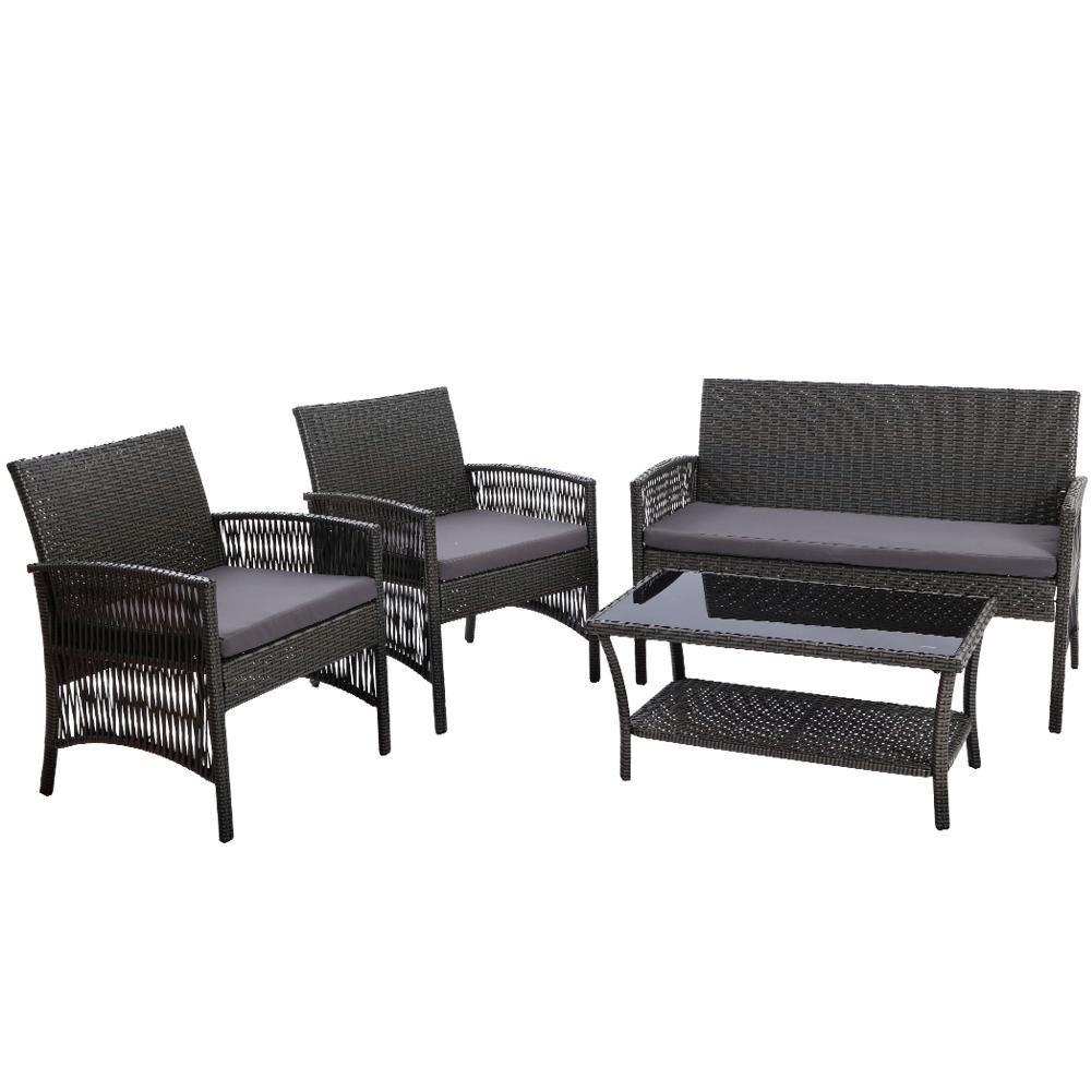 4 pc Rattan Set Wicker Cushions Dark Grey - Housethings