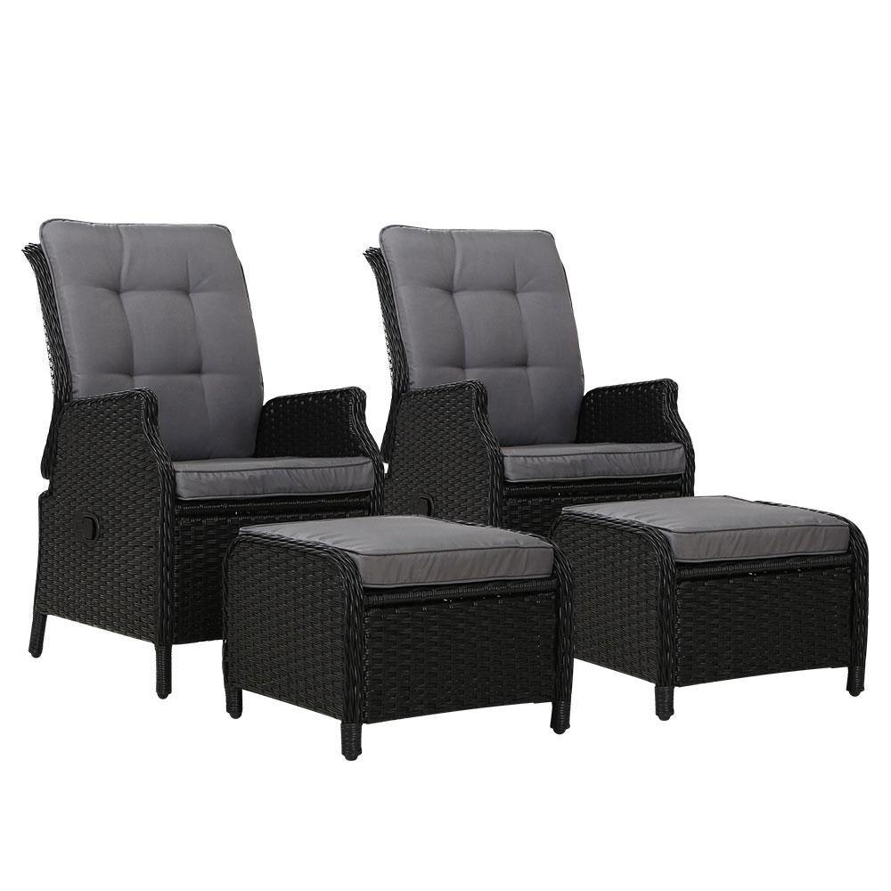 2 x Recliner Chairs Wicker and Ottomans - Housethings