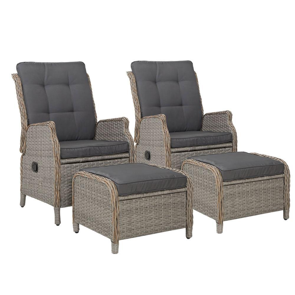 2 x Recliner Chairs Sun lounge Wicker and Ottomans - Housethings